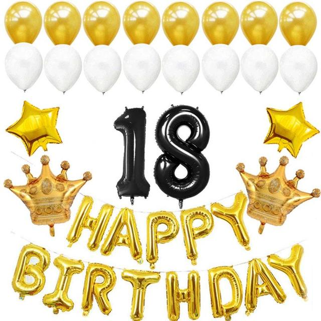 18th Birthday Balloons Foil Latex Party Decorations Supplies Black Jumbo Number And Golden HAPPY
