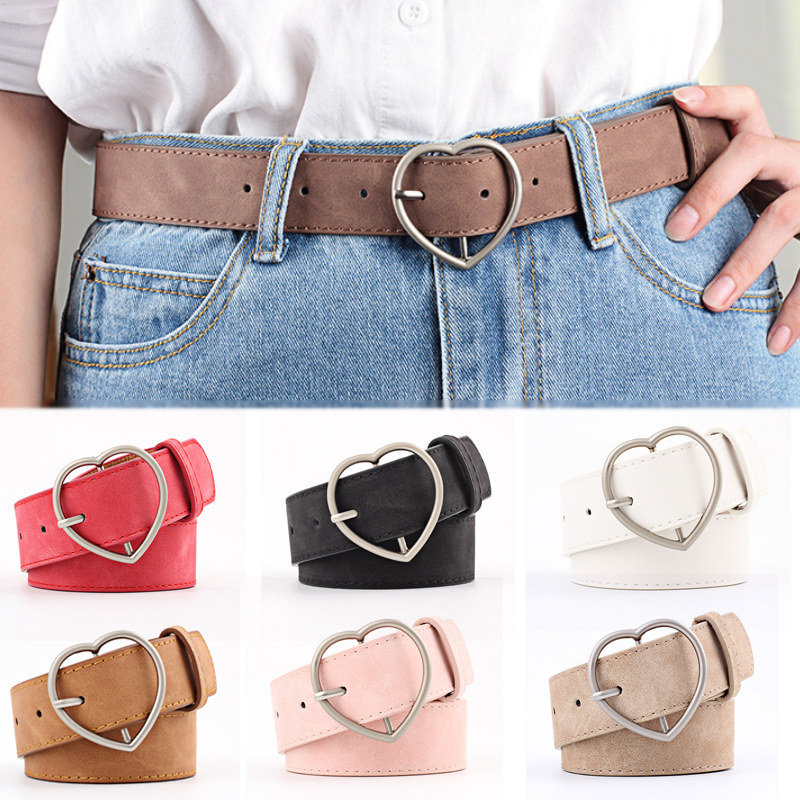 Student Graceful Hot Sale Wedding 1PC Heart Shape Pin Buckle PU Seaside Female   Belt   Adjustable Adult Candy Color Frosted Leather