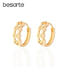 Женские маленькие серьги кольца Золотые круглые