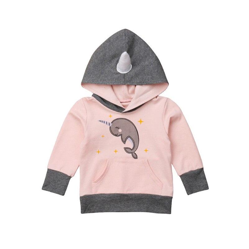 2-6 T Dolphin Nette Kleidung Kleinkind Baby Kinder Jungen Mädchen Cartoon Rosa Hoodie Jumper Tops Mit Kapuze Mode Sweatshirt Einhorn Outfits Zu Hohes Ansehen Zu Hause Und Im Ausland GenießEn