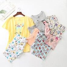 Zomer Korte Mouwen Koreaanse Cartoon Afdrukken Pyjama Tall vrouw Loungewear Pyjama Vrouwen Pijama Plus Size Nachtkleding voor 105kg