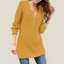 Try Everything Yellow Sweater Winter Woman Knitting Pullovers Pullover Women 2019 V Neck Long Jumper Tops
