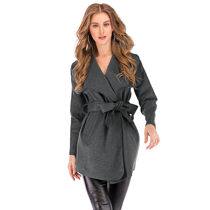 2019 Autumn Women Trench Coat Large Lapel Solid Overcoat Long Sleeve Pockets Thin New Fashion Female Casual Outerwear Overcoat