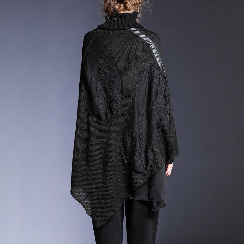 À L019 2018 Irrégulière Femmes Marée Hiver Automne Hem Black Chandail Lâche Longues De Tricot Nouveau Mode Manches Col Haut Noir xqpfA