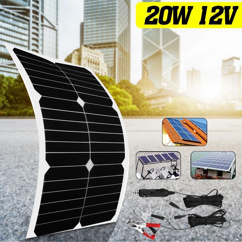 Chargeur solaire Flexible du panneau solaire 12 V/5 V 20 W pour la batterie de voiture chargeant les cellules monocristallines de 12 V 6 pièces pour le hause, bateau, toit de voiture