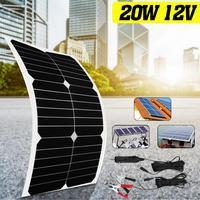 Flexible Solar Panel 12V/5V 20W Solar Charger For Car Battery Charging 12V 6pcs Monocrystalline Cells For hause,boat,car roof