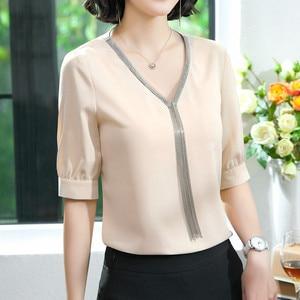 Image 2 - エレガントなシャツ女性プロ服新夏のファッション気質 v ネックシフォン半袖ブラウスプラスサイズトップス