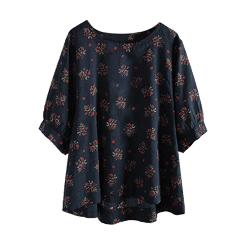 CATS Women Summer Autumn O Neck Lantern Half Sleeve Vintage Tops Shirt Ladies Casual Boho Floral Printed Loose Blouse Plus Siz
