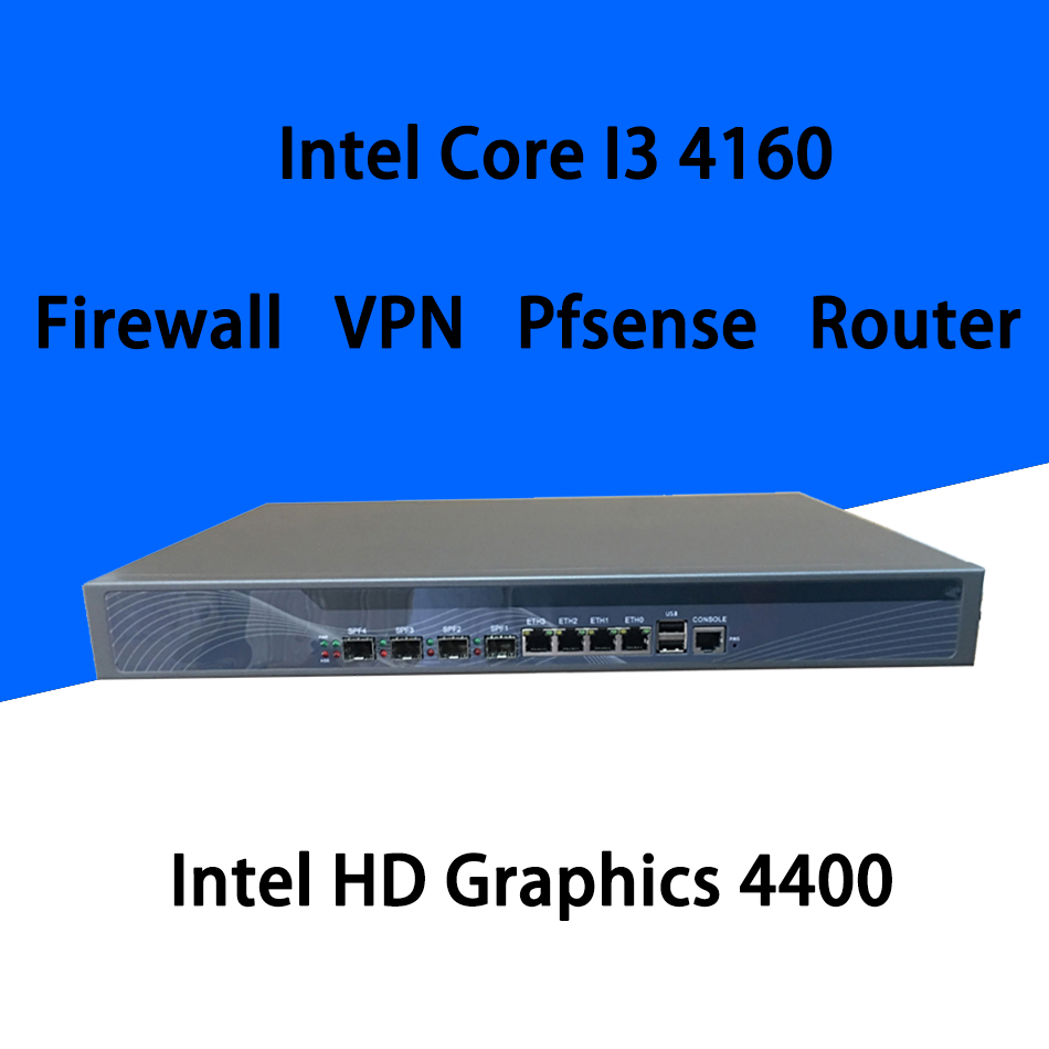 Firewall Mikrotik Pfsense VPN Network Security Appliance Router PC Intel Core I3 4160,[HUNSN SA21R],(4LAN/2USB/1COM/1VGA)