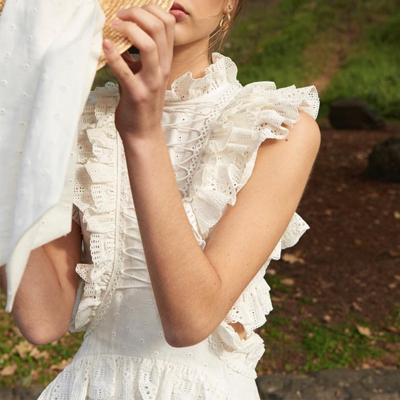 TWOTWINSTYLE Primavera Del Merletto Scava Fuori Volant Abiti Donna Senza Maniche A Vita Alta Mini Vestito Per Le Donne di Modo Coreano 2019 Vestiti-in Abiti da Abbigliamento da donna su  Gruppo 2