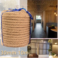KIWARM 30mm 10m Jute Rope Twine Natural Hemp Cord Interior DIY Decor Cat Pet Scratching Handmade Decoration