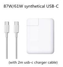 87 Вт/61 Вт синтетических Мощность адаптер Тип C два USB-C порт Зарядное устройство для последних Apple Macbook Pro 12 «13» 15 «дюймовый A1706 A1707 A1708