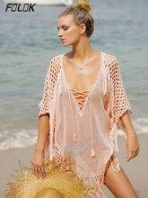 New Sexy Cover Up Bikini Women Swimsuit Cover-up Beach Bathing Suit Wear Knitting Swimwear Mesh Dress Tunic Robe