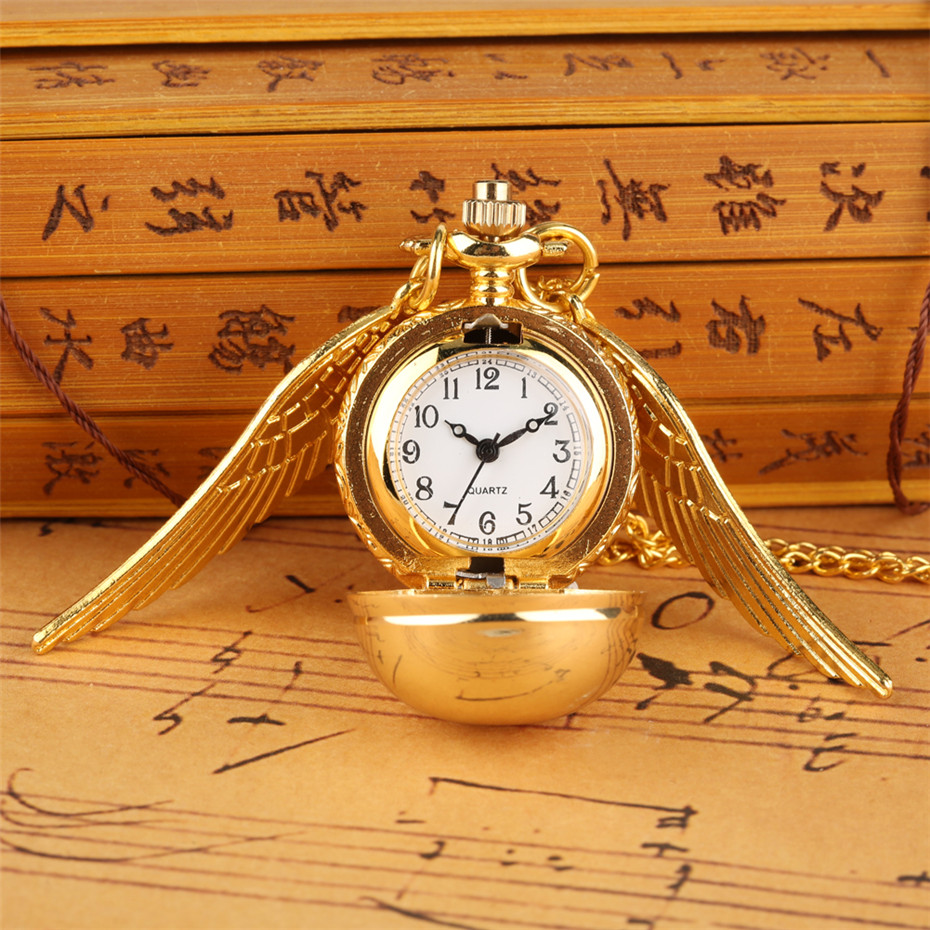 Golden Snitch Ball Pocket Watch Quartz Necklace Pendant Watch Gifts For Kids With Wings Vintage Tiny Necklace Watch Children