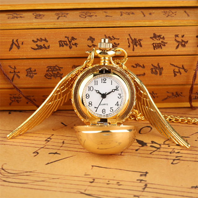 Golden Snitch Ball Pocket Watch Quartz Necklace Pendant Watch Gifts for Kids wit