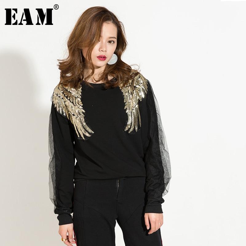 [EAM] 2019 Nwe Spring Fashion O-neck Split Joint Gauze Long Sleeve Double Wings Black Loose Sweatshirts Woman Tide KS0641
