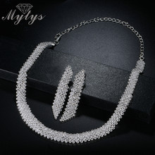 Mytys Shining Full Crystal Weeding Choker Necklace and Dangle Line Earrings Jewelry Sets for Women Light Weight Comfortable Sets(China)