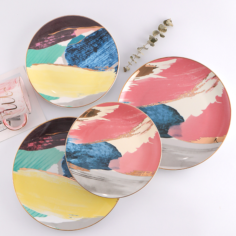 8 And 10 Colorful Cloud Dinner Plate Set Porcelain