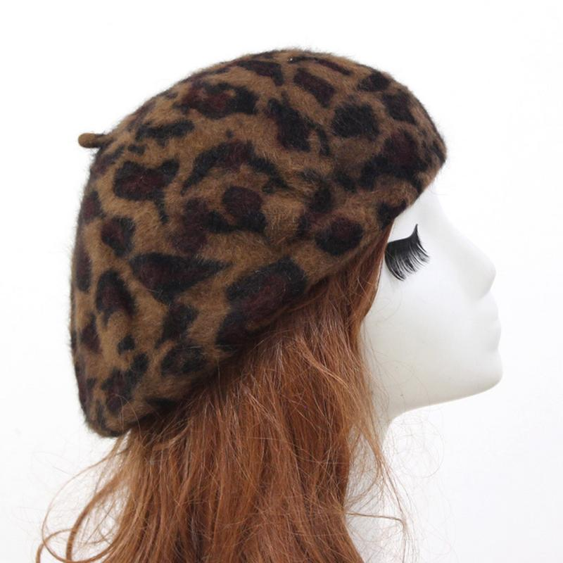 Elegant Leopard Warm Wool Spring Autumn Winter Beret Women French Artist Beanie Beret Hat For Women Beret Hat