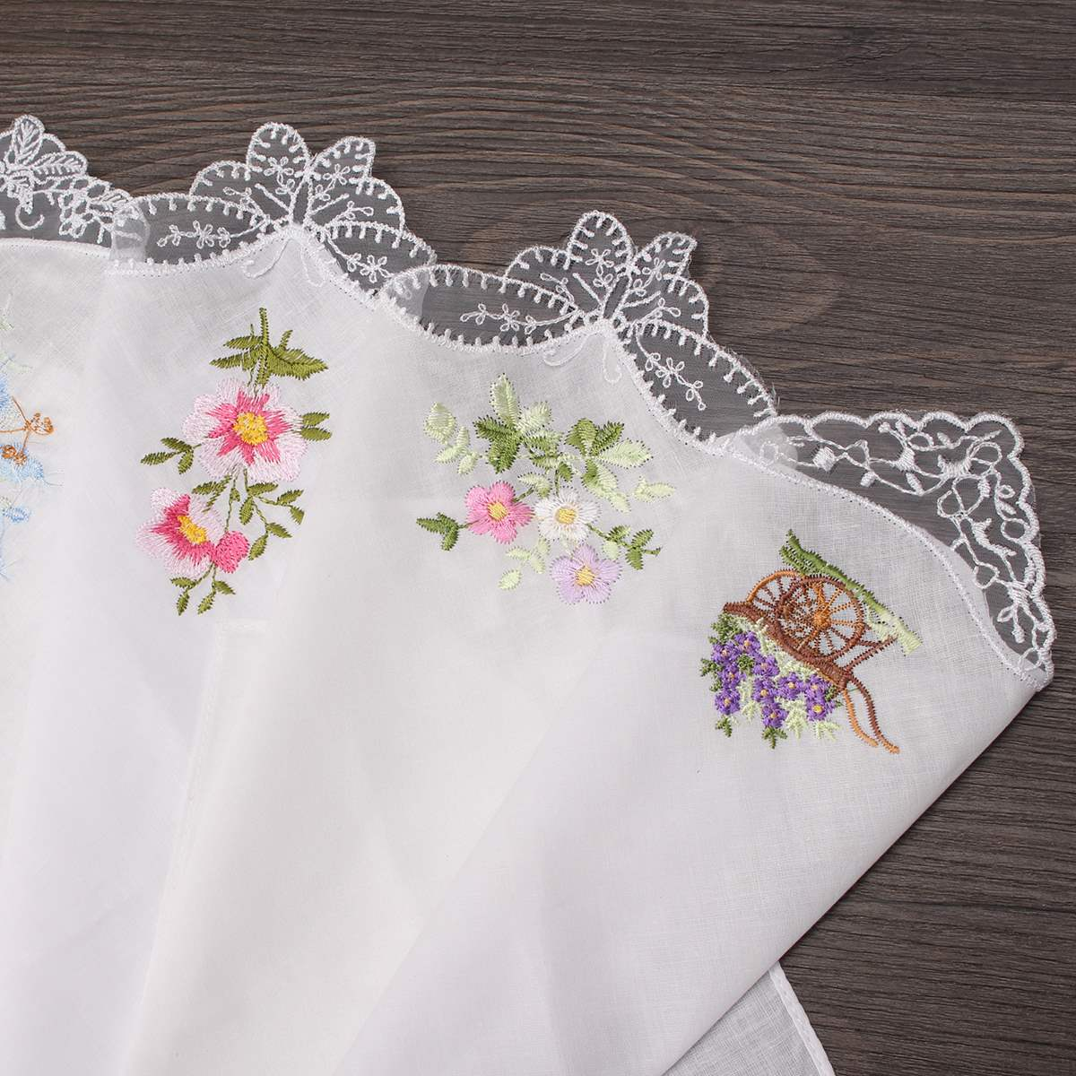 White with Flower Embroideries Pack of 6 Assorted Colours Ladies Handkerchiefs