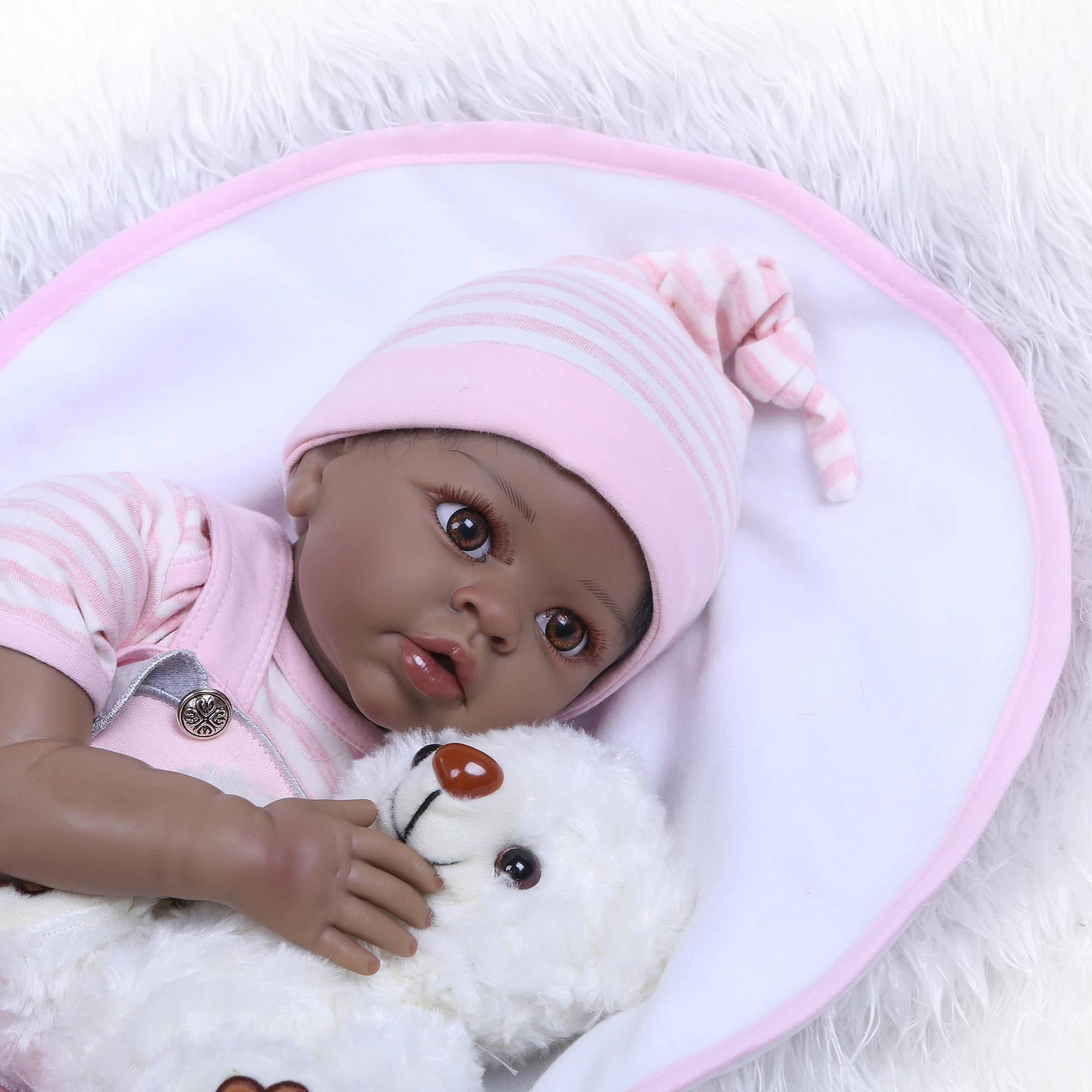 "22/"" Biracial Reborn Baby Dolls Ethnic African American Boy Doll Black Skin"