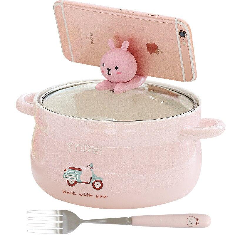 Creative Kawaii grande boîte à Lunch nouilles instantanées avec fourchette boîte à Bento Portable avec couvercle mis