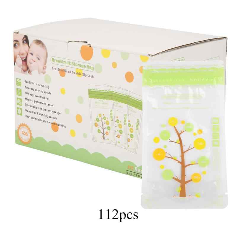 112Pcs 235ml Baby Breastmilk Storage Bags Leak Proof Sterilized Baby Food Safe Breast Milk Freezer Storage Bags For Baby Feeding