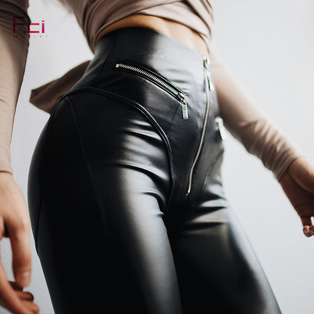 0286dc2a9d41aa 2019 Women Sexy PU leather Leggings with Front Zipper High Waist Push Up  Faux Leather Pants Latex Rubber Pants Leggings