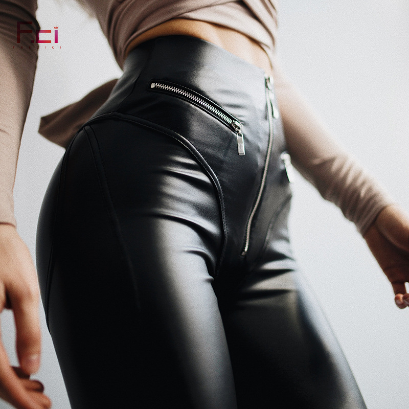FREICICI Frauen Sexy PU leder Leggings mit Front Zipper Hohe Taille Push-Up Faux Leder Hosen Latex Gummi Hosen Leggings