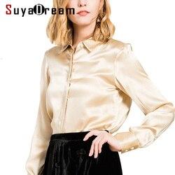 Women SHIRT 19MM Heavy 100%Natural Silk Button Long sleeved Shirt 2019 Spring New Office Lady Top shirt Blusas femininas