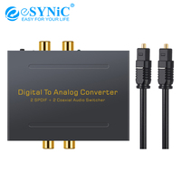 Esynic DAC Digital to Analog Converter 2 Optical Toslink 2 Coaxial to L/R RCA 3.5mm Stereo Audio with Optical Switcher Splitter