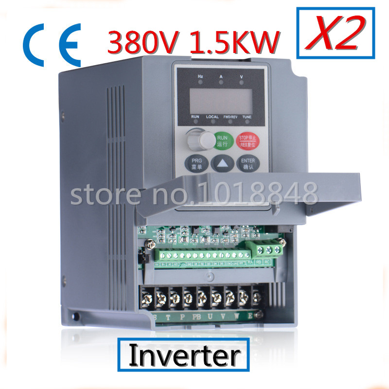 2pcs/Lot 380V 1.5kw 5.1a Frequency Drive Inverter CNC Driver CNC Spindle motor Speed control,Vector converter