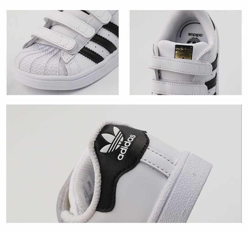 Оригинальные детские кроссовки для скейтбординга с изображением суперзвезды Адидас, дышащий светильник, детские спортивные уличные кроссовки # BZ0418