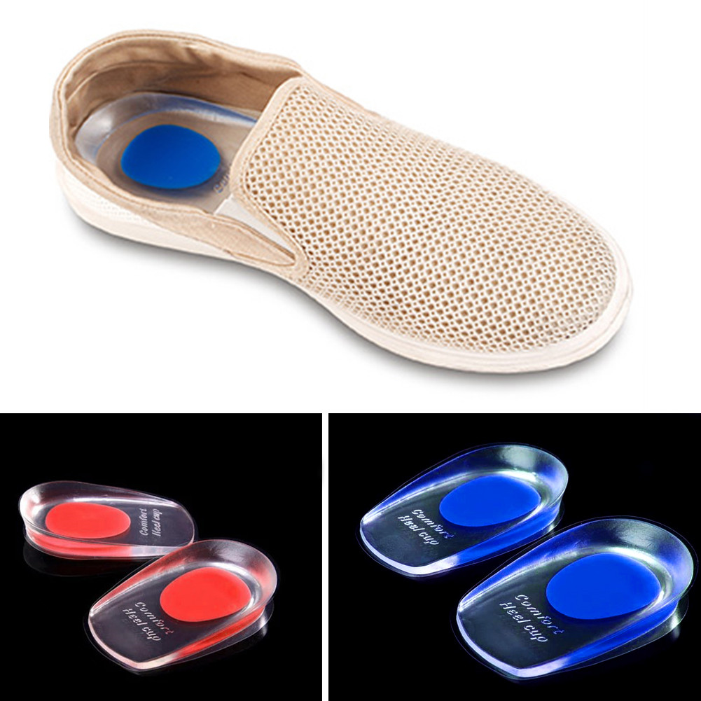1 Pair Silicone Gel Insoles Heel Cushion Soles Relieve Foot Pain Protectors Spur Support Shoe Pad Feet Care Inserts