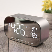 LED Alarm Clock with FM Radio wireless Bluetooth Speaker Support Aux TF USB Music Player Wireless for Office Bedroom