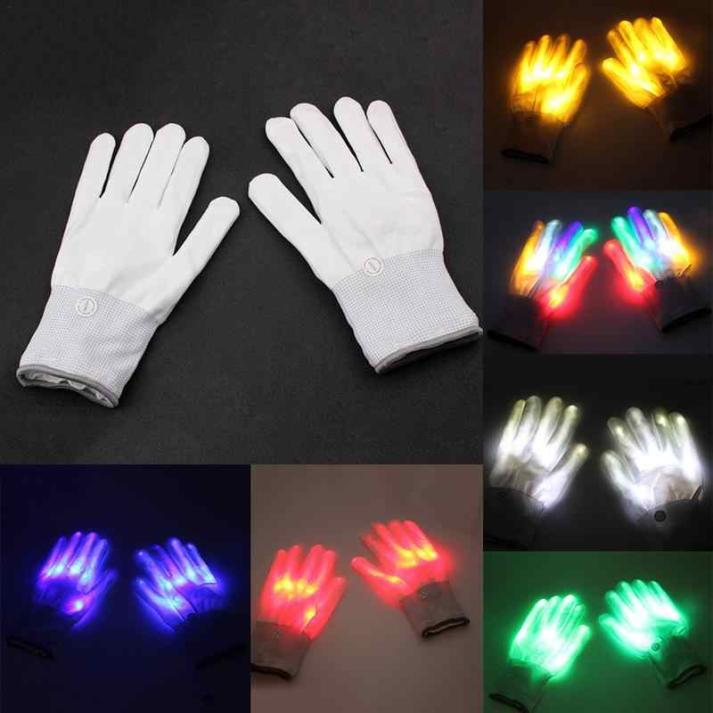 1 Pair LED Light Glowing Gloves Colorful Luminous Flashing Skeleton Gloves Halloween Stage Costume Holiday Events Party Supplies