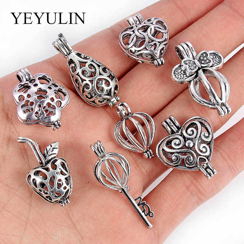 8Pcs Antique Silver Key Love Heart Shape Alloy Locket Pearl Cage Pendant For DIY Essential Oil Diffuser Necklace Accessories