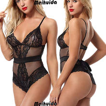 Women Sexy Lingerie Nightwear Ladies Lace Thin Bodysuits Sleepwear Underwear Lace Up Bandage Hollow Out Female Jumpsuit Mesh(China)