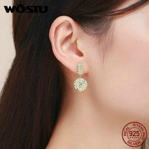Image 4 - WOSTU Trendy Women Earrings 2019 Individual Geometric Gold Round Stud Earrings For Women 925 Sterling Silver Jewelry Gift CQE533