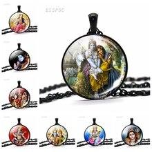 Shiva Statue Glass Dome Pendant Necklace Krishna and Radha Black Chain Necklaces Fashion Yoga Religious Jewelry for Men Women radha