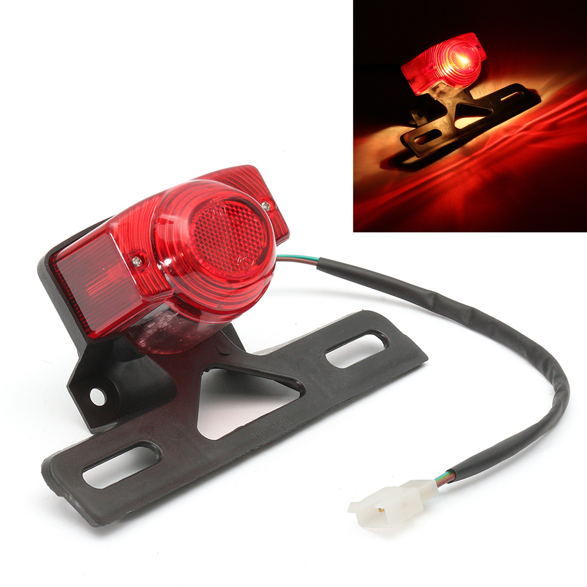 Tail Light Motorcycle Red Rear Tail Lights Brake Stop Light Lamp License Plate Bracket For Honda Monkey Z50 Z50JZ Z 50 KDF Bike