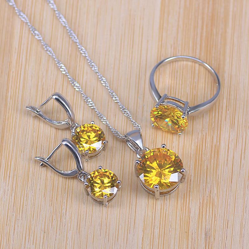 0195ae305705 Último conjunto de joyas brillantes Plata de Ley 925 cristal austriaco pavé  encantador pendiente redondo colgante collar anillo de mujer