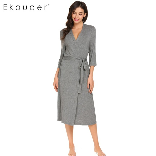 Ekouaer Long Womens Robe 3/4 Sleeve Solid Loose V Neck Self Belt Bathrobe Night Sexy Robes Night Grow Kimono Robe Size S-XL