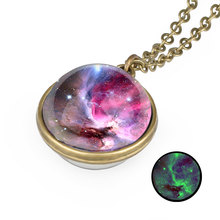 Glass Pendant Universe Necklace Galaxy Sided Nebula Statement Handmade Art Double Jewelry Picture Planet