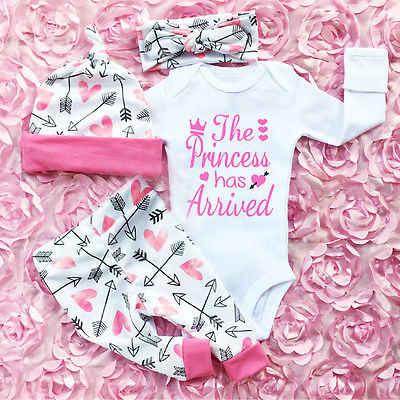 Pudcoco 4PCS Newborn Baby Girls Clothes Set Cotton Soft Long Sleeve Infant Baby Romper Pants Outfit Autumn Girls Clothing