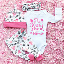 3dfe5f0813f 4PCS Infant Newborn Baby Girls Clothes Long Sleeve Cotton Romper Pants Hats Outfits  Clothes Set Baby