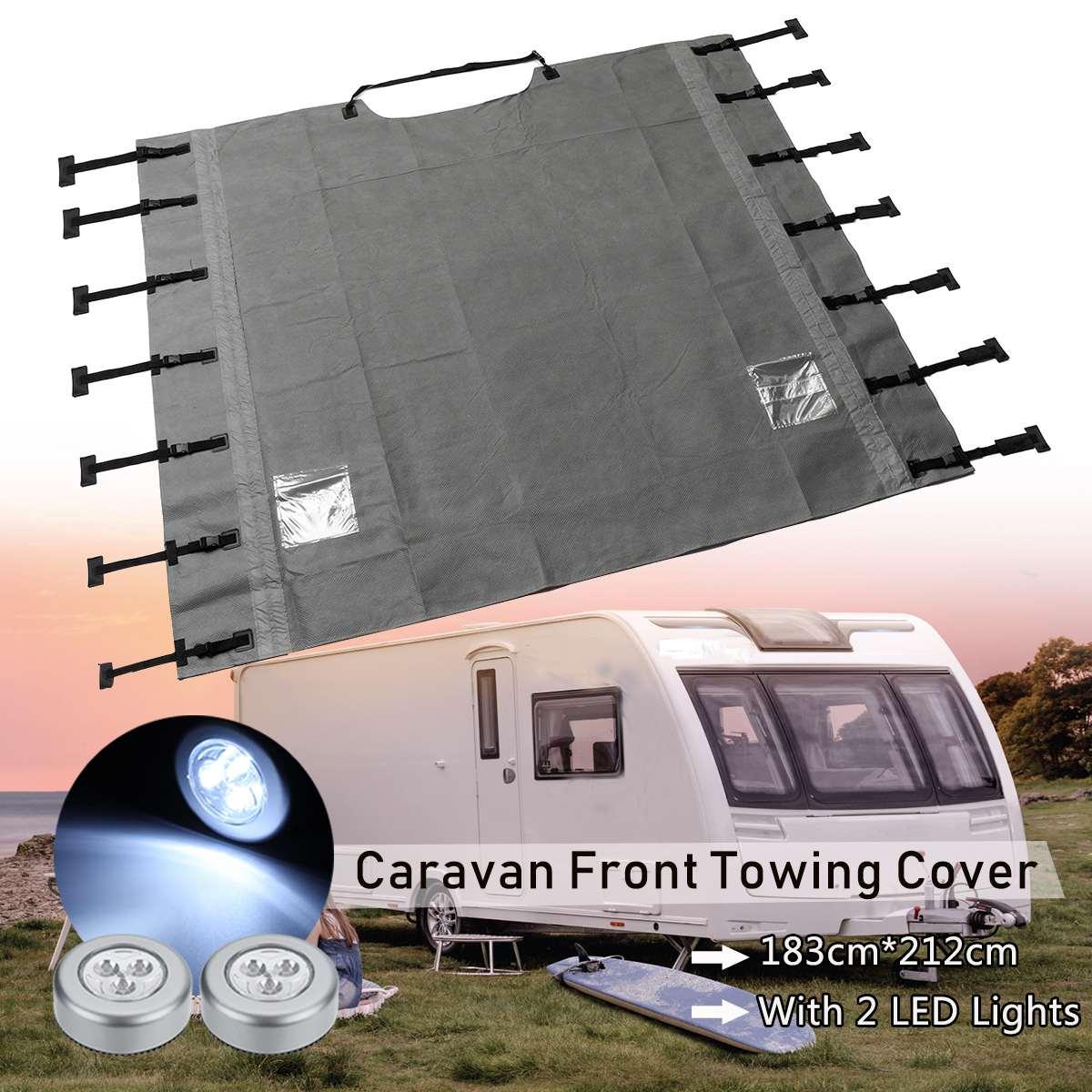 Couverture universelle de remorquage avant de caravane étanche à la poussière avec des lumières LED pour camping-car RV