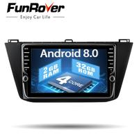 Funrover 2 dinCar Multimedia player 9'' Android8.0 radio dvd for Volkswagen Tiguan 2017 2018 headunit naviagtion Steering Wheel