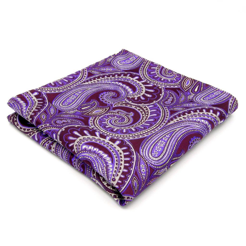 KH12 Handkerchief Paisley Purple Lavender Mens Pocket Square Jacquard Woven Brand New