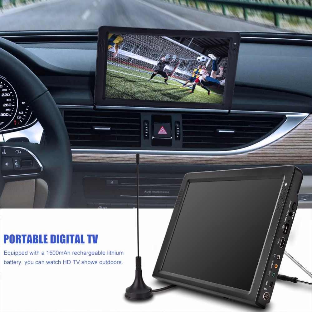 ЕС Plug переносной телевидение dvb телевизионный проигрыватель 12 дюймов перезаряжаемый цифровой цветной Tft-Led экран Hdmi Портативный телевизионный проигрыватель